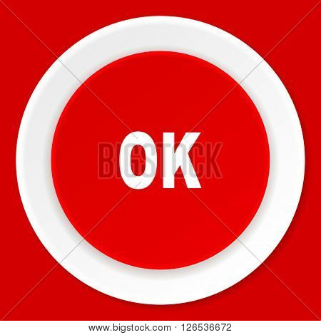 ok red flat design modern web icon