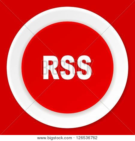 rss red flat design modern web icon