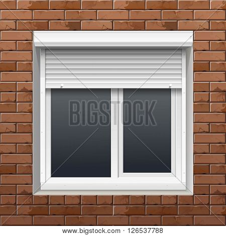 Vector Window with Rolling Shutters on a Brick Wall