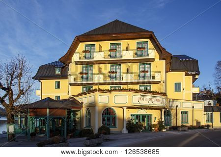FUSCHL AM SEE, AUSTRIA - JANUARY 14, 2016: The Hotel Seerose in Fuschl am See is located on the waterfront of the Fuschlsee and is one of the best-located hotels around the lake