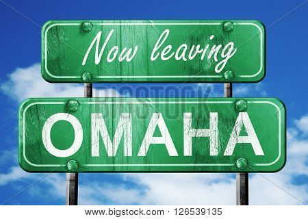 Now leaving omaha road sign with blue sky