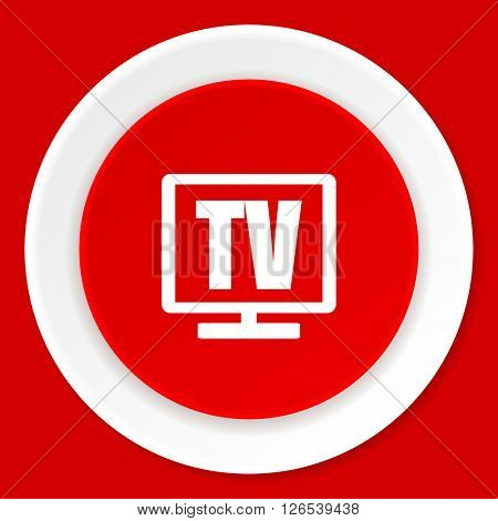 tv red flat design modern web icon