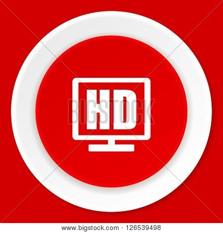 hd display red flat design modern web icon