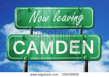 Now leaving camden road sign with blue sky
