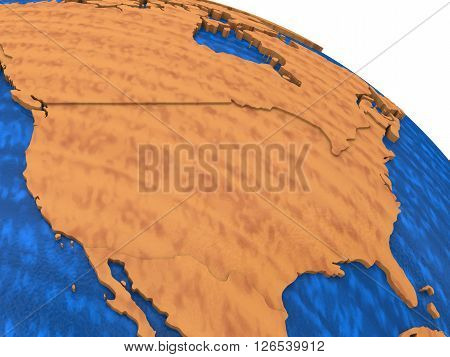 Usa On Wooden Earth