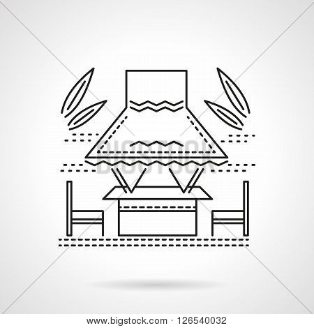 Romantic tropical gazebo with abstract palm leaves. Table with seats under an awning. Sea coast view. Flat line style vector icon. Single design element for website, business.