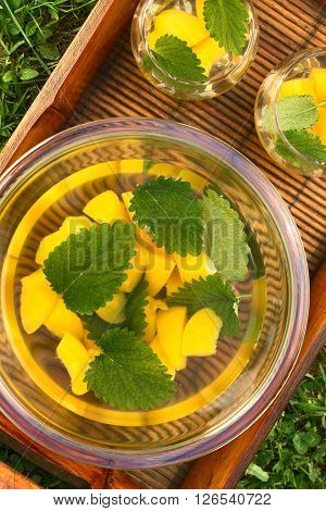 Refreshing peach lemon balm and white wine punch or wine cooler in bowl and two glasses on tray set on grass photographed overhead with natural light
