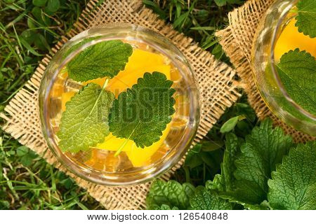 Refreshing peach lemon balm and white wine punch or wine cooler in glass set on grass photographed overhead with natural light
