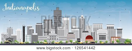 Indianapolis Skyline with Gray Buildings and Blue Sky. Business Travel and Tourism Concept with Modern Buildings. Image for Presentation Banner Placard and Web Site.