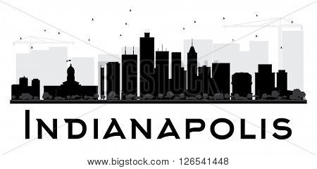 Indianapolis City skyline black and white silhouette. Simple flat concept for tourism presentation, banner, placard or web site. Business travel concept. Cityscape with landmarks