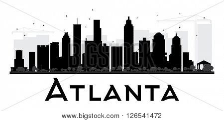 Atlanta City skyline black and white silhouette. Simple flat concept for tourism presentation, banner, placard or web site. Business travel concept. Cityscape with landmarks