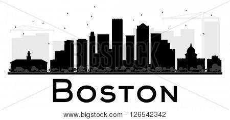 Boston City skyline black and white silhouette. Simple flat concept for tourism presentation, banner, placard or web site. Business travel concept. Cityscape with landmarks