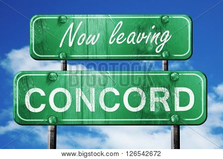 Now leaving concord road sign with blue sky