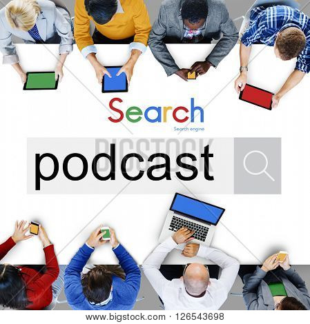Podcast Audio Social Media Digital Sharing Network Concept