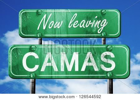 Now leaving camas road sign with blue sky