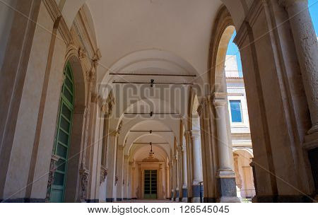 CATANIA ITALY - MARCH 31: The Benedictine Monastery of San Nicolò l'Arena is one of the largest monasteries in Europe and a UNESCO World Heritage Site and today it hosts the Department of Humanities of the University of Catania on March 31 2016