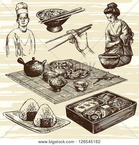 Japanese food. Hand drawn set.