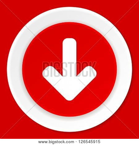download arrow red flat design modern web icon
