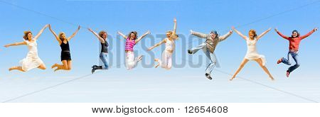 8 happy people jumping with joy
