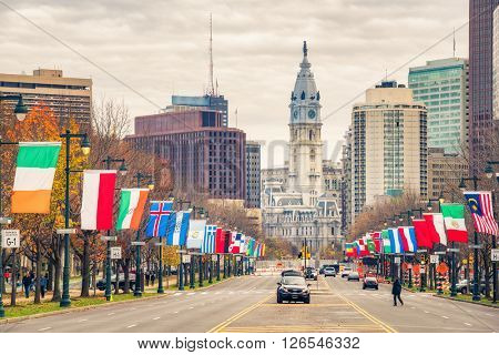 Philadelphia's downtown and City Hall building