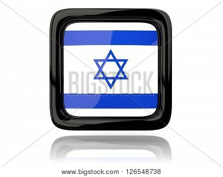 Square Icon With Flag Of Israel