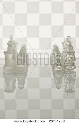 Glass chess on a white background