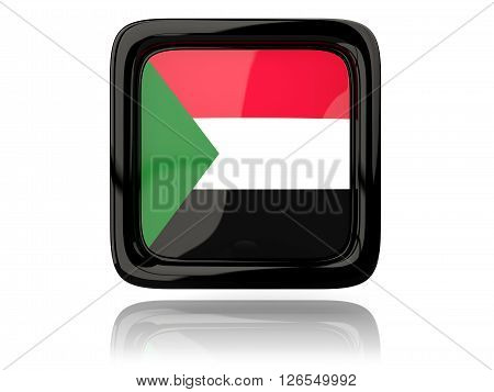 Square Icon With Flag Of Sudan