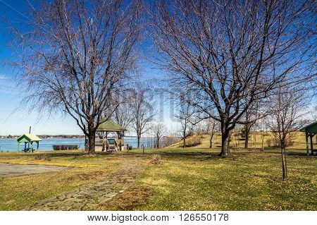 Sorel-Tracy Quebec Canada park at spring the park name is Pointe-aux-pins near the St.Lawrence river