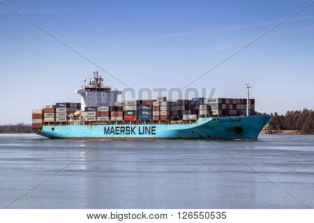Sorel-Tracy Canada-20 April 2016 : MAERSK PENANG container ship on the St. Lawrence River. This ship was made in 1998 from Netherlands.