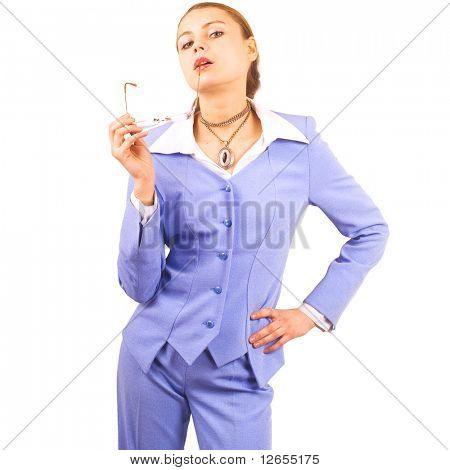 "cute fit woman wearing business suit  -  of ""Business women"" multiple series in studioâ??s portfolio"