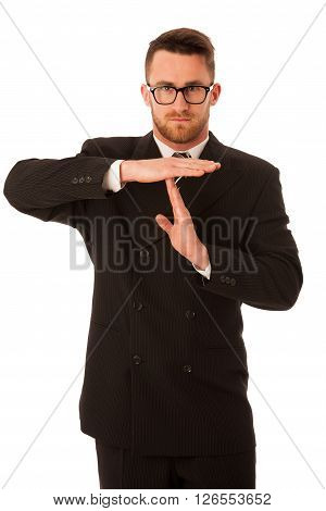 Businessman In Formal Suit Gesturing Time Out Isolated.