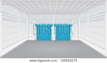 Interior of factory with shutter door, blue color.
