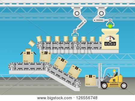 Robot working with conveyor belt and forklift with blue background.