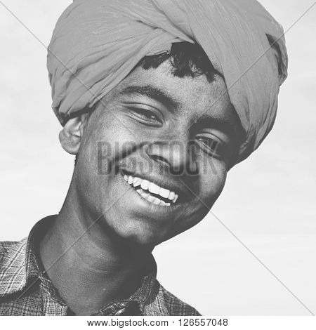 Indigenous Indian Asian Boy Casual Culture Joy Concept