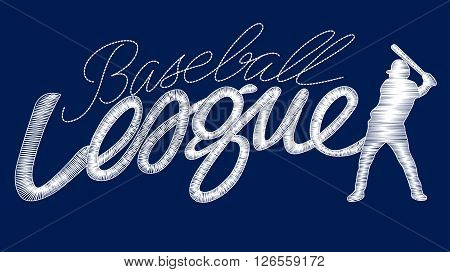 White baseball league embroidery stitching text with player .