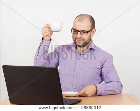 Man With Beard In Glasses Laptop
