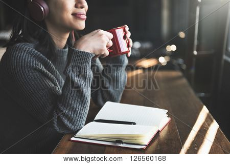 Leisure Casual Coffee Thinking Listening Study Concept