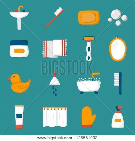 Set of cartoon bathroom icons: bath duck toothbrush towel sink creams mirror. Indoor house concept. Bath things design. Vector bathroom icons. Cute objects on bathroom theme