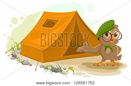 Summer holiday camp. Scout owl standing near tent. Owl bird tourist tent set. Camping cartoon illustration