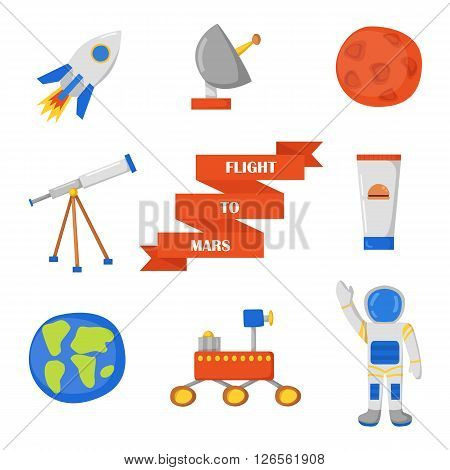 Set of objects on Flight to Mars theme in cute cartoon style. Astronaut Mars mountain cosmic food rover planets Earth and Mars. Colonization project concept. Human adventure to red planet