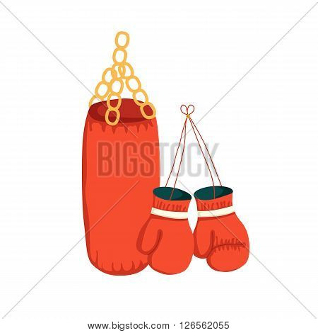 Vector cartoon boxing gloves and punching bag. Sport illustration with boxing object. Fight boxer isolated equipment: punching bag and boxing gloves. Thai box or kickboxing vector background