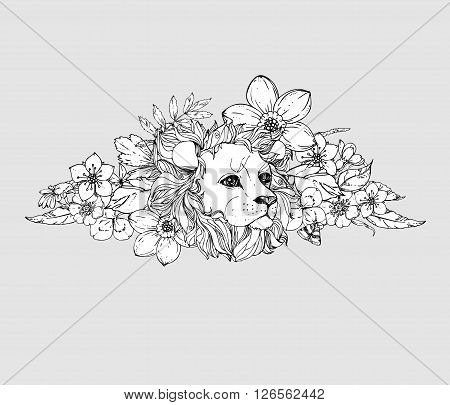 hand drawn ink doodle lion on white background. Coloring page - zendala, design for adults, poster, print, t-shirt, invitation, banners, flyers.