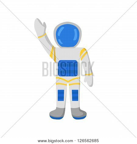 Vector cartoon character astronaut in spacesuit. Flight to Mars and Moon concept. Great for children book or encyclopedia. Cartoon astronaut/cosmonaut character waves hand. Universe travel adventure