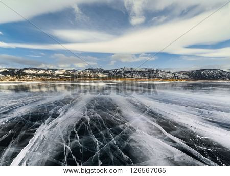 Ice Lake With Cracks.