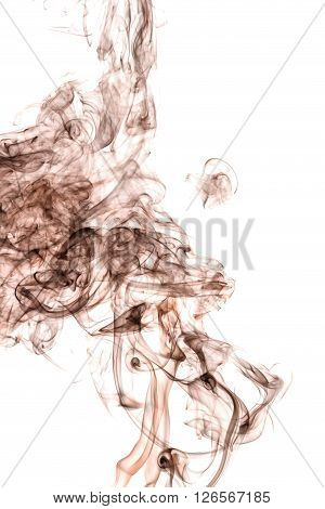 Abstract beautiful brown smoke creeping up from below isolated on white background