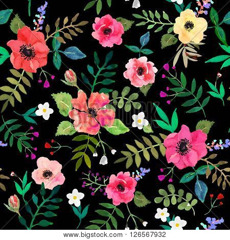 Seamless floral background. Isolated red flowers and leafs drawn watercolor on black background. Vector illustration.
