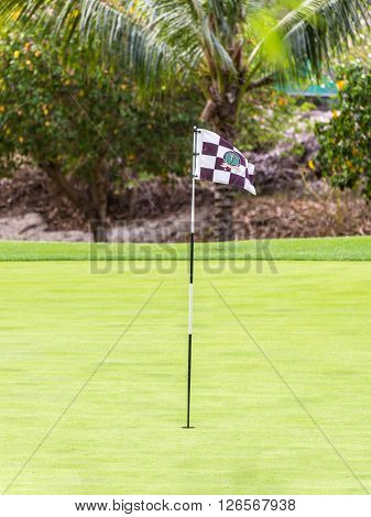 Le Morne Mauritius - December 7 2015: Golf Course and Flag of the Mauritius Paradis Golf Club near Le Morne mountain Mauritius.