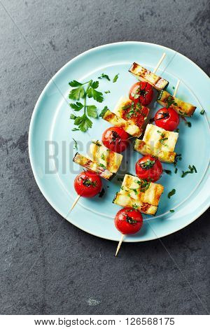 Grilled Halloumi, Cherry Tomato and Zucchini Skewers