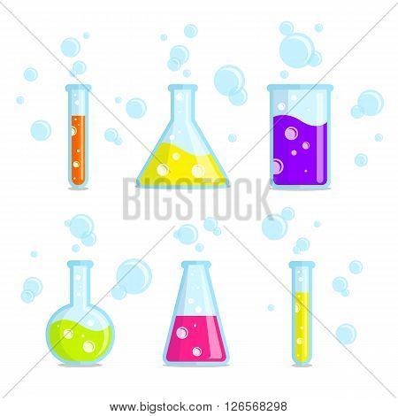 Test tubes beakers flasks and bubbles. Vector colorful icons. Good for use in the medical chemical scientific field.
