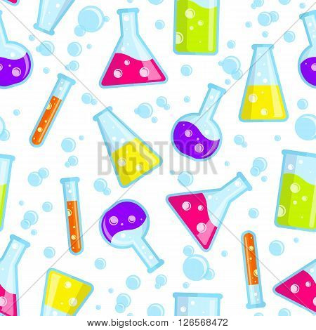 Seamless pattern of the test tubes beakers flasks and bubbles. Good for use in the medical chemical scientific field. Vector background.